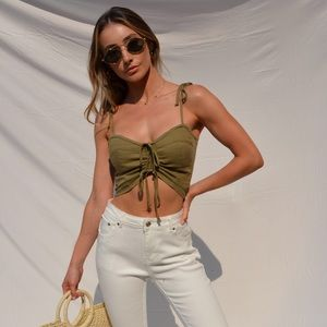 Olive green bustier top